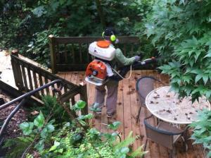 A client of ours took a pic of one our applicators spraying his lower deck